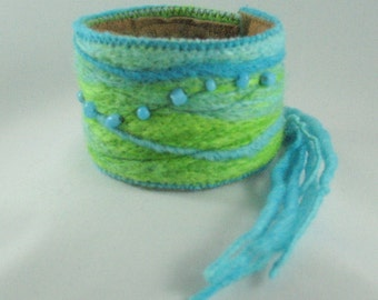 Turquoise and Lime Green Felted Cuff Bracelet