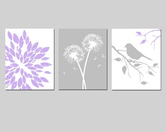 Lavender Purple Gray Grey Girl Nursery Art - Abstract Floral, Dandelions, Bird on a Branch - Set of Three 8x10 Prints - CHOOSE YOUR COLORS