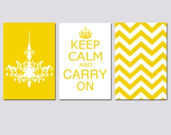 Keep Calm Carry On, Chevron, and Chandelier Trio - Set of Three 13x19 Prints - Modern Wall Art - Choose Your Colors - Yellow, Gray, and More