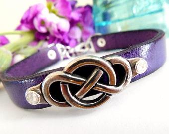 Leather Mandala Bracelet Peace Symbol Dangle Bangle Rivets Silver Purple Celtic Knot