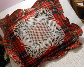 """Boho RED & GREEN PLAID Wool Pillow, Vintage Spider Web Crochet Lace, Wide Satin Ruffle, Comfy Soft Accent, Buffalo Flannel Back, Cheery 16"""""""