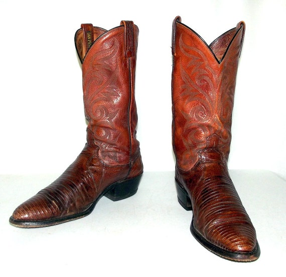 brown lizard dan post brand cowboy boots mens size 10 d