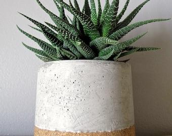 Concrete pot-concrete planter- concrete container -concrete n cork vase-succulent and cactus planters- holiday gift
