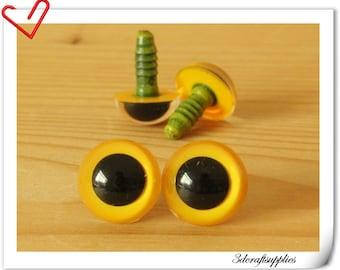 14 mm Yellow Toy eyes  Safety eye amigurumi eye doll eyes cat eye 14  pieces EB69