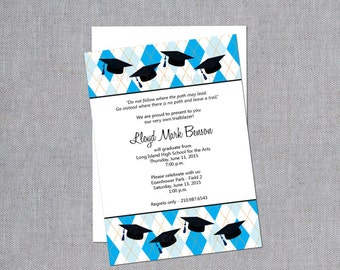 High School Graduation Invitations with Graduation Caps - Graduation Announcements - Grad Announcements - Graduation Invites - Commencement
