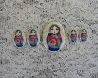 Babushka Doll Cabochons Folk Art Cameos Matryoshka Russian Doll Cabochons Babushka Nesting Doll Cabochons Set of 5 Unset Porcelain Cabochons