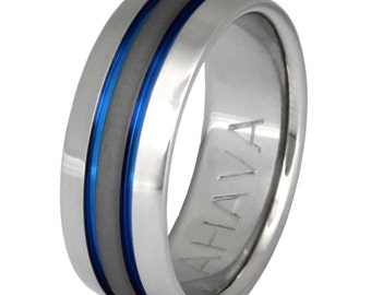 Titanium Wedding Band - Thin Blue Line Ring - Custom Finish - Stealth sa11