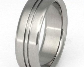 Titanium Wedding Band - Striped Titanium Ring - n9