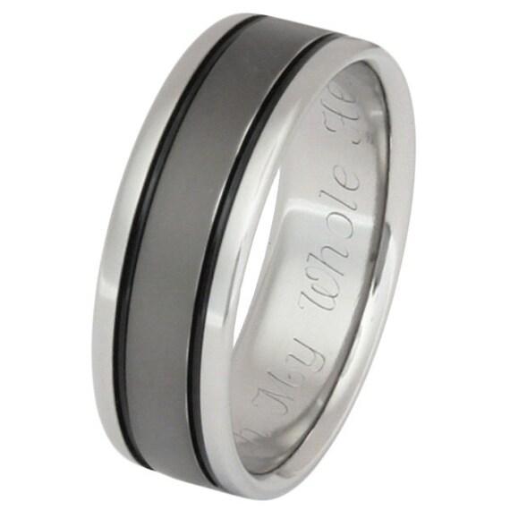 Black Titanium Wedding Band - Black Ring - bk5