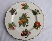FREE SHIPPING vintage fruit plate Crownford Made in England Fine Bone China
