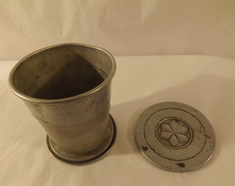 FREE SHIPPING vintage travel collapsible metal cup