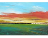 original painting abstract acrylic landscape sunset field teal  light blue line cold minimalist 24x36