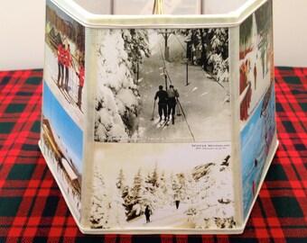 Ski Lamp Shade Postcard Lampshade - 7x10x7 hex clip - Ski House Decor - Vintage Ski Mountains - Holiday Gift
