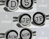 Mens Initial cufflinks / Groomsmen Gifts / Wedding Gift / Anniversary Gift / Monogram Cufflinks / Personalized Cufflinks - Font Courier