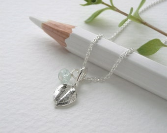 Tiny Chickweed Leaf Jewelry - Aquamarine Gemstone, Pure Silver Real Leaf Pendant, Thin Sterling Chain Necklace