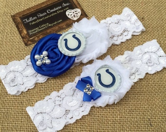 Wedding garter / Indianapolis garter Colts  / wedding  garter SET / bridal  garter/  lace garter / NFL garter / football garter