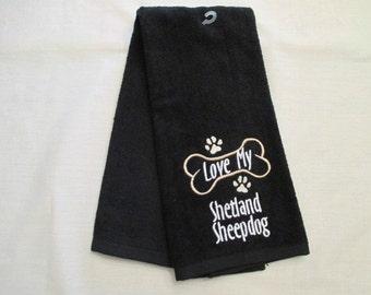 Shetland Sheepdog Hand Towel, Pet Towel, Grooming Towel, Embroidered Dog Towel