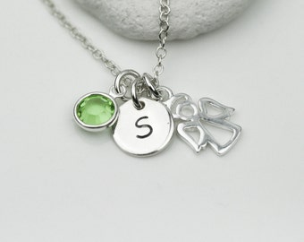 Sterling Silver Personalized Initial, Birthstone and Angel Necklace - Personalize silver necklace, Guardian Angel Necklace