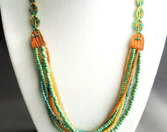 Colorful Leaves Micro Macrame Necklace - Cascading Vines - Beaded Swags - Multiple Strand Necklace - Beaded Necklace