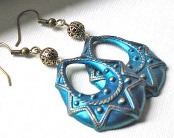 Blue Hoop Earrings - Boho, Brass, Bohemian
