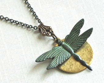 Dragonfly Necklace - Verdigris Brass, Dragonfly Jewelry, Nature Jewelry