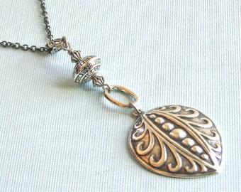 Silver Tribal Boho Style Necklace - Art Deco Necklace