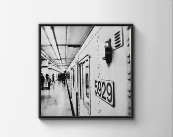 BUY 2 GET 1 FREE Toronto Photography, Subway Station, Bay Station, City Photo, Office Decor, Black White Photo, Subway Car - 5929