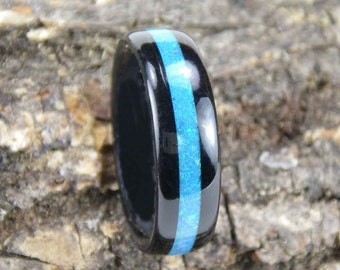 Bentwood Ring Ebony with Blue Opal Inlay