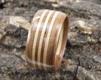Men's Bentwood Ring Walnut with Triple Maple Inlays