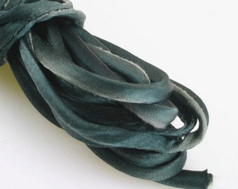 "1/4"" Silk Cord Silk Ribbon Hand Dyed Shades of Teal Blue 3 yds Silk Necklace Corf"