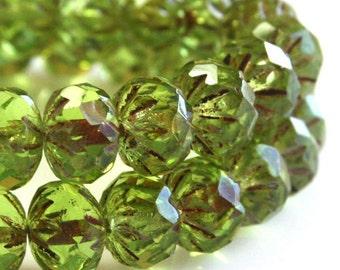 Czech Pressed Glass Cruller Bead - Peridot 1 Hank CMIS/080