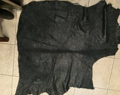 Natural black shimmery distress leather - a 6 square foot hide
