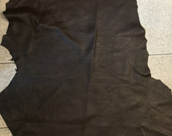 Thick brown texture brown lambskin leather - a full 7 plus square foot hide
