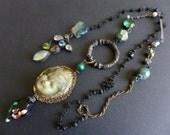 Sabaism. Iridescent rustic assemblage lariat necklace.