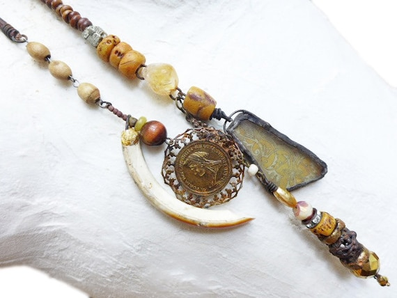 Escape. Victorian tribal double lariat assemblage necklace in shades of amber gold yellow orange brown.