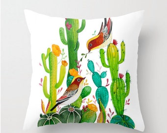 Throw Pillow Cover Birds with Cactus