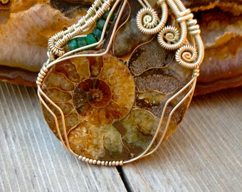 Ammonite and Green Emerald Sterling Silver Wire Wrap