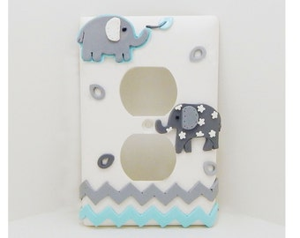 Elephant Chevron Light Switch or Outlet Cover Gray, White, Pale Turquoise - Children's, Nursery, Toddler's