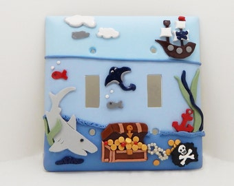 Pirate Themed Double Light Switch Cover, Under the Sea Double Childrens Light Switch Cover  -Nautical Nursery - Rocker or Toggle Cover