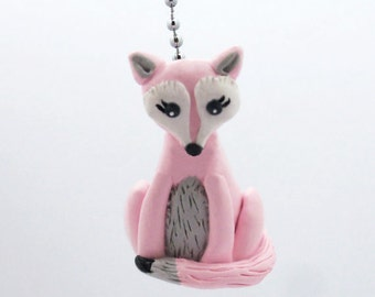 Fox Fan Pull Chain - Pink, Gray, and White - Children's Forest Nursery - Woodland Nursery Decor - Polymer Clay