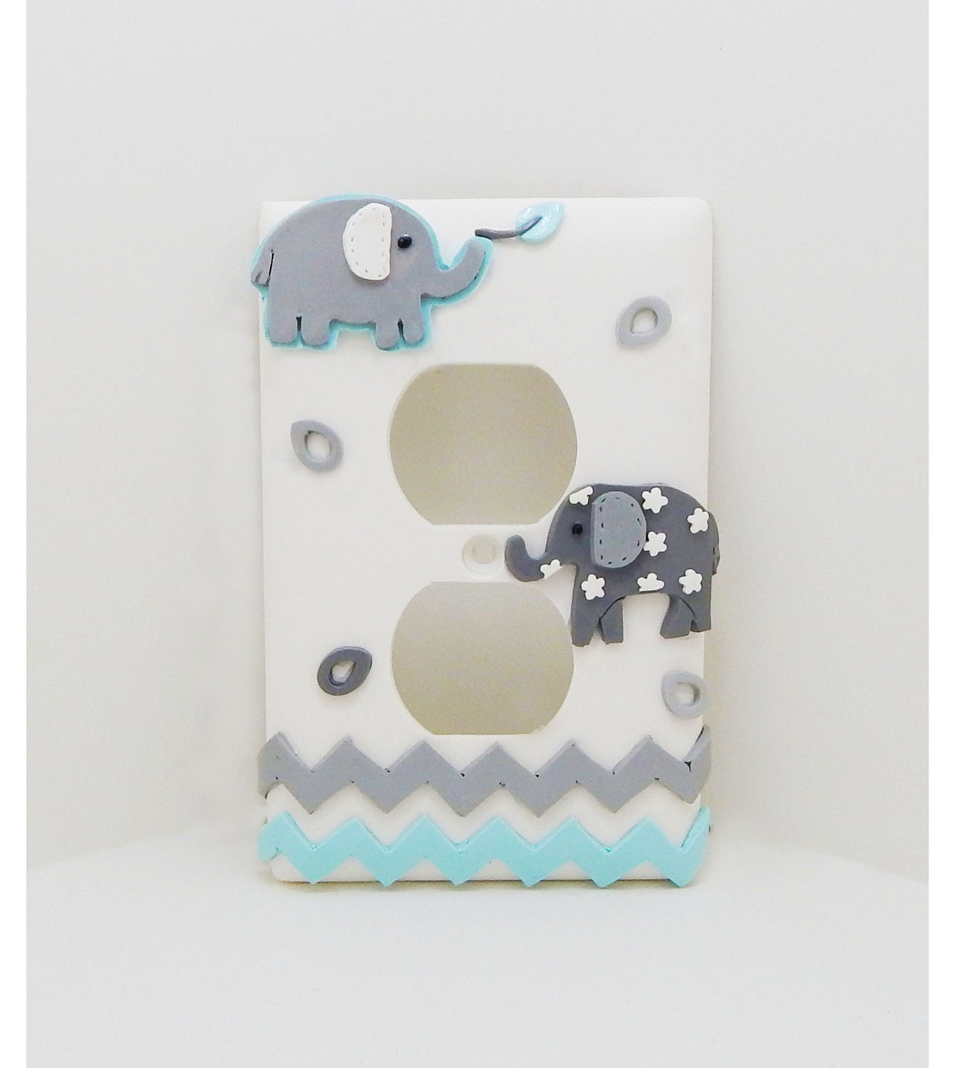 Elephant Light Switch Cover Or Outlet Cover Chevron Gray