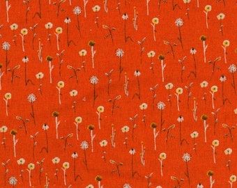 SALE. Heather Ross Far Far Away 3 Dandelions on Orange