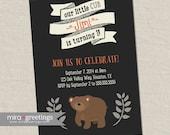 Bear Birthday Party Invitations - Bear cub Little Woodland Birthday Party Invites - vintage baby first birthday (Printable Digital File)