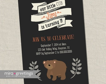 Bear Birthday Party Invitations - Printable Digital File