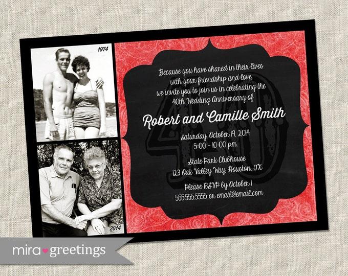 40th Anniversary Invitation - Ruby Red Wedding Anniversary Party Invite - Chalkboard wedding anniversary invitation (Printable Digital File)