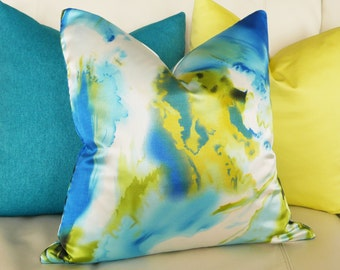Abstract Watercolor Pillow, Vibrant Decorative Pillow Covers, Colorful Blue, Chartreuse, White, Contemporary Coastal Decor, 18x18, 45x45 cm