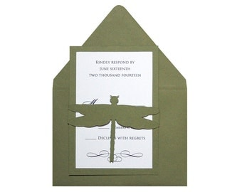 Dragonfly RSVP Cards - moss, nature, natural