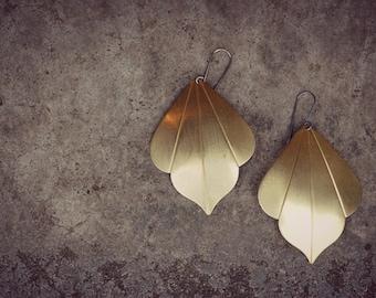 Brass Leaf Earrings, Brushed Brass Boho Earrings, Bohemian, Gypsy Large Earrings