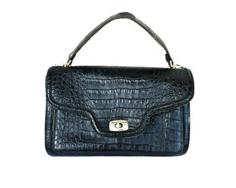 French Vintage 50s Crocodile Motif Leather Handbag