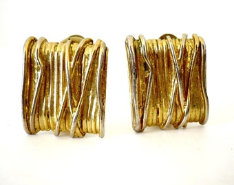 French Vintage 80s Gold Plated Square Clip on Earrings